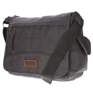 Christian Wippermann große XL Herren Damen Tasche Umhängetasche Canvas Messenger Bag Schultertasche Schwarz