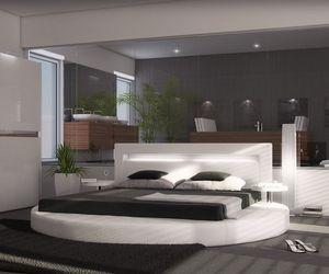 Polsterbett Arrondi Weiss 180x200 Bett rund mit 2 Nachtkonsolen und LED