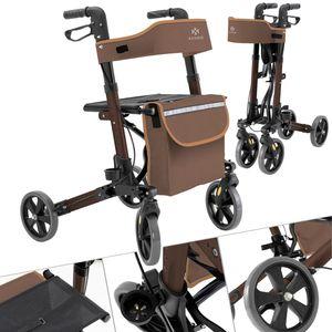 KESSER Rollator Gehwagen Gehhilfe klappbar Alu-Rollator Leicht Laufhilfe , Farbe:Rollator Braun