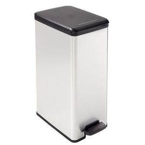 Curver DECO BIN Slim 40L Mülleimer Abfalleimer Treteimer Silber Schmal 40 Liter