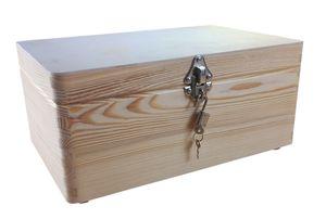 abschließbare Aufbewahrungsbox/ Holzkiste Gr. 1 Kiefer unbehandelt (Schloss 2-silber)