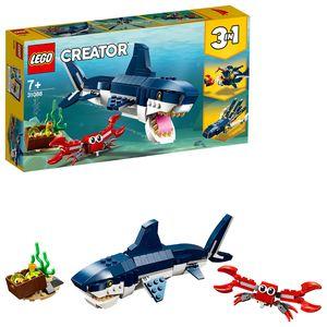 LEGO 31088 Creator Bewohner der Tiefsee, Spielzeug mit Meerestieren Figuren: Hai, Krabbe, Tintenfisch und  Seeteufel, Set für Kinder ab 7 Jahre