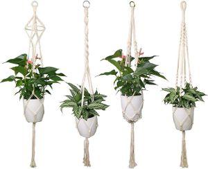 4er Set Makramee Blumenampel Baumwollseil Hängeampel Blumentopf Pflanzen Halter Aufhänger - 41 Zoll, 4 Beine
