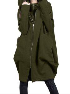 Damen Winter Kapuze Mittellanger Mantel Dual Zip Coat Casual Loose Jacket,Farbe:Armeegrün,Größe:L