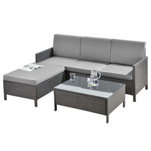 Gartenmöbelset Rattan 3-tlg. Rattan-Möbel Sitzgruppe Gartenlounge Loungeset Polyrattan Dunkel-/Hellgrau