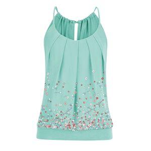 Frauen Sommer Loose O Neck Plissee Cami Tank Tops Blumendruck Gebänderte Taille Top Größe:XXXXL,Farbe:Grün