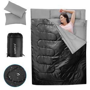COSTWAY Doppelschlafsack, Schlafsack XL, Deckenschlafsack 2 Personen/mit 2 Kissen / 220x150cm / fuer Camping, Wandern, Aktivitaeten im Freien