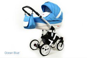 Kinderwagen Lilly, 3 in 1 -Set Wanne Buggy Babyschale Autositz Ocean Blue