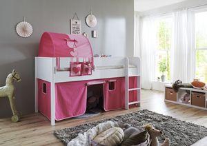 Relita Halbhohes Bett Luka 90x200 MDF/Buche weiß lackiert, mit Vorhang, 1-er Tunnel und Tasche; BH2565117+TX5002022+TX5072032+TX5032022-M1
