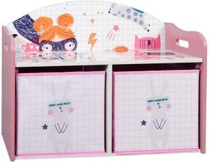 EUGAD Kinder Aufbewahrungsregal Spielzeug- und Bücherregal Spielzeugkiste Kinderkommode Kindermöbel mit 2 Kisten aus MDF Rosa