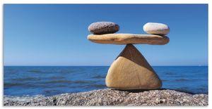 ARTland Alubilder Gleichgewicht - Steine Meer Alubild Größe: 60x30 cm
