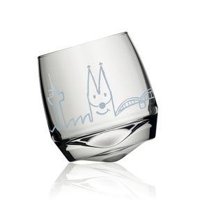 Witziges Wackelglas  Agrippina  Wasserglas Trinkglas Glas Skyline Köln kölsch