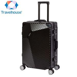 Travelhouse Roma - Koffer M, Schwarz, Polycarbonat Hartschale, Alu-Rahmen