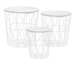 Tisch Set Korb 3er Set - 3 Tische mit 3 Deckeln - Tischplatte: weiß (30598W)