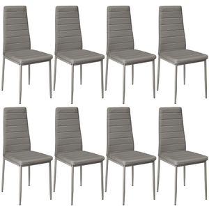 Esszimmerstühle 8 stk. Hochlehner Esszimmer Kunstleder-Leder Esszimmerstuhl Polsterstuhl Grau