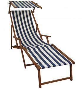 Gartenliege blau-weiß Strandliege Relaxliege Fußablage Sonnendach Buche Klappstuhl 10-317 F S