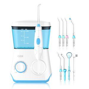 GESS AQUA PRO mit 8 multifunktionalen Aufsteckdüsen, Munddusche für Familienzahnpflege, Mundhygiene für Zahnspangen, gesundes Zahnfleisch, weiß