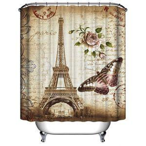 Schöner Eiffelturm Paris Print Badezimmer Dekoration Schimmelresistenter wasserdichter Duschvorhang