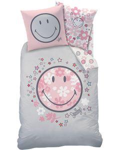 Smiley HAPPY FLOWER Bettwäsche 80x80 + 135x200 cm · Blumen & Sterne Bettwäsche für Kinder / Mädchen mit Wende Motiv · 100% Baumwolle