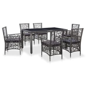 7-teiliges Outdoor-Essgarnitur Garten-Essgruppe Sitzgruppe Tisch + stuhl Poly Rattan Grau