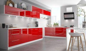 Lackierter Küchenblock Küchenzeile weiß / RAL 3002 karminrot Hochglanz lackiert