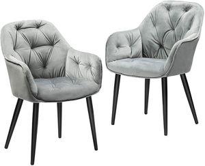 DICTAC Stühle esszimmer Esszimmerstühle grau Esszimmerstuhl 2er Samt Küchenstuhl Polsterstuhl Wohnzimmerstuhl Sitzfläche mit Armlehne Metallbeine  Stuhl Für Esszimmer Wohnzimmer Küche