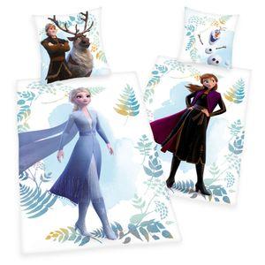 Disney Frozen 2 Anna Elsa Olaf Flanell Wende Bettwäsche Set 135 x 200 cm