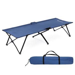 SONGMICS Campingbett Blau Oxford-Gewebe XL 206 x 75 x 45 cm bis 260 kg belastbar Feldbett Stahl Gartenliege Sonnenliege GCB25L