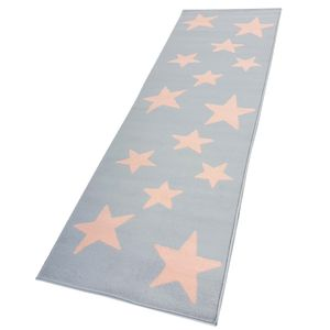 Moderner Läufer Teppich Brücke Teppichläufer Sterne Stars verschiedene Farben ca. 80x250 cm, Größe:80x250 cm, Farbe:hellgrau/rosa