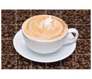 Fliesenaufkleber Coffee cappuccino Tasse Küche selbstklebend Klebefolie Fliesen Bild Essen Küchenfliesen Aufkleber 8T101, Bildformat:75cmx50cm, Fliesengröße:Fliese 20x20cm