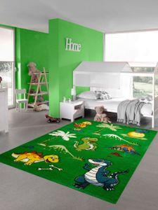 Kinderteppich Dinosaurier Kinderzimmerteppich Dschungel Vulkan in grün Größe - 160 cm Rund