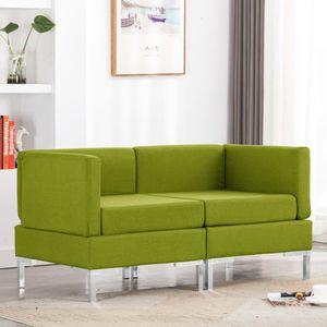Modular-Ecksofas 2 Stk. mit Auflagen Stoff Grün Wohnlandschaft-Sofa Relaxsofa für Wohnzimmer Schlafzimmer Esszimmer