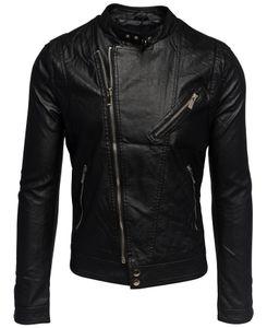 Herren Leder Jacke Biker Übergangsjacke Asymmetrisch H1533, Farben:Schwarz (gefüttert), Größe Jacken:M