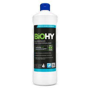 BiOHY Glasreiniger für Fenstersauger (1l Flasche)   geeignet für alle Fenstersauer   sorgt für strahlenden Glanz auf allen glatten Flächen   für eine klare und streifenfreie Reinigung