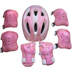 7 Stück Helm Schutzausrüstung Kinder Rollschuhe Fahrrad Schutzhelm Knie Ellbogen Handgelenk Schutz Pad Set, Rosa