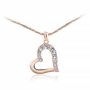 Damen Halskette Herz Kette Heart Anhänger vergoldet Herzkette Zirkonia Kristall rosegold