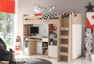 """Hochbett """"UNIT"""" Jugendbett Kinderbett Bett mit Stufen integriertem Schreibtisch in Eiche Sonoma Weiß"""
