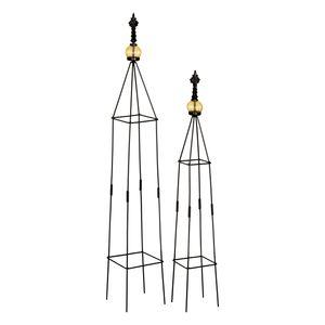 1PLUS Obelisken Set 'Lambert', 2 Stück, Höhe: 80,5 und 100 cm, in versch. Farben, Farbe:Schwarz