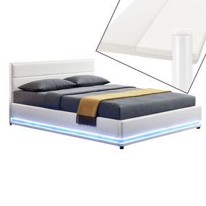 Juskys Polsterbett Toulouse 140x200 cm – Bett mit Matratze, Lattenrost, Kopfteil, LED & Stauraum – Modernes Bettgestell - Bezug aus Kunstleder in Weiß