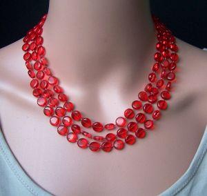Z272# Perlenkette lang rot Imitationsperlen Wickelkette Halskette