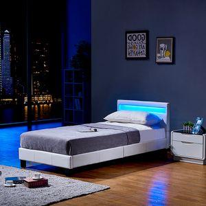 HOME DELUXE - LED Bett ASTRO 90 x 200 Weiß Polsterbett Bett inkl. Lattenrost