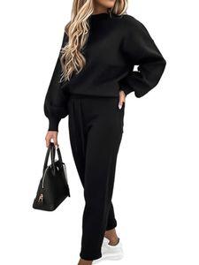 Damen 2-teiliger schlichter Pullover Freizeitanzug Damen Freizeitanzug mit langen Ärmeln Farbe: Grau Größe: S,Farbe: Schwarz,Größe:S