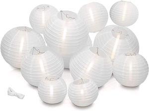Welikera 12 Stücke Papier Laterne Lampions 15/20/25/30 cm,  Lampenschirm Hochzeit Dekoration Papierlaterne weiß