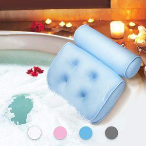 Badewannenkissen,Komfort badewanne kopfkissen mit Saugnäpfen, badewanne nackenpolste für Home Spa Whirlpools, Blau Kopfstütze (33 x 36 x 8.5 cm)