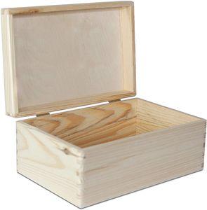Creative Deco Natur Holz-Kiste mit Deckel   30x20x14 cm (+/-1cm)   Erinnerungsbox Baby   Holz-box Unlackiert Kasten   ohne Griffen   Für Dokumente, Spielzeug, Werkzeuge   ROH & UNGESCHLIFFEN