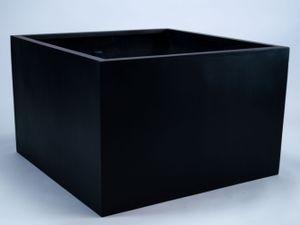 Elegant Einrichten Pflanzkübel Blumenkübel Fiberglas niedrige quadratisch 100x100x60cm schwarz-matt., Farbe:Schwarz