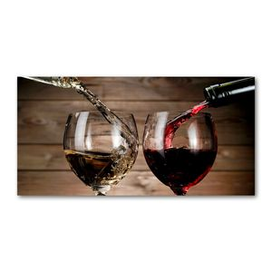 Tulup® Glas-Bild - 100x50 -Wandkunst - Wandbild hinter gehärtetem Sicherheitsglas  - Essen & Getränke - Wein Gläser - Rot