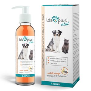 Ida Plus - Premium Lachsöl in Lebensmittelqualität für Tiere - 200 ml Pumpflasche - Hunde und Katzen - Omega -3 & 6 Fischöl -  Germany - Vitamin D, A und E - BARF
