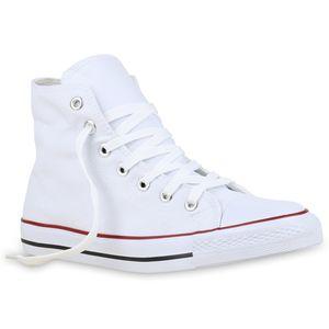 Mytrendshoe Herren High Sneakers Stoffschuhe Sportschuhe Kult Schnürer 811382, Farbe: Weiß, Größe: 42