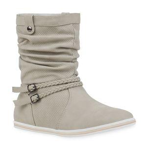 Mytrendshoe Damen Schlupfstiefel Sportliche Stiefel Boots Schnalle 70991, Farbe: Creme, Größe: 40